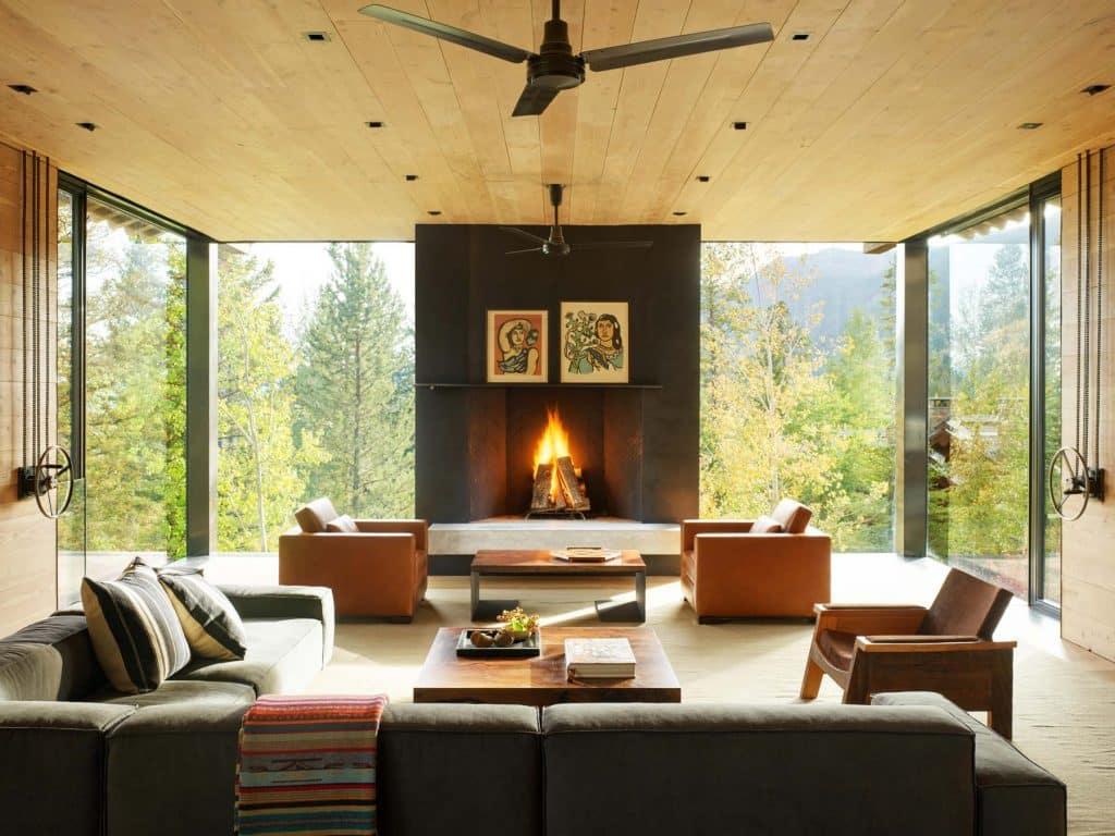 Architect Tom Kundig Olson Kundig Jackson Hole Teton House living room winches shutters