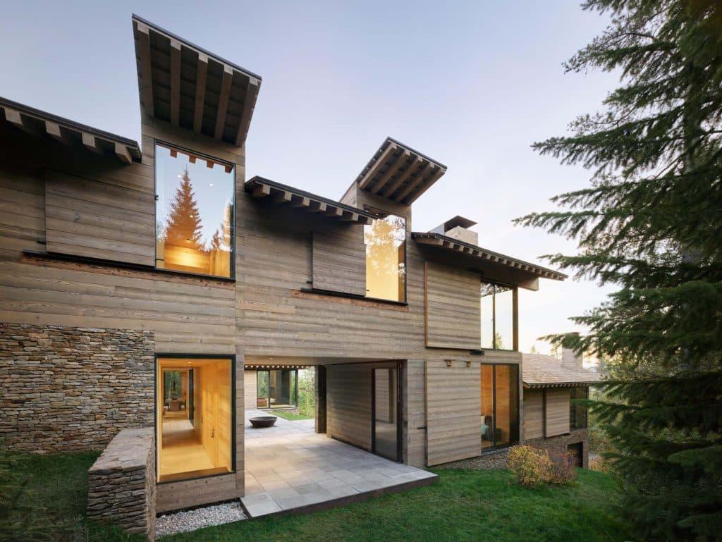 Architect Tom Kundig Olson Kundig Jackson Hole Teton House exterior elevation shutters