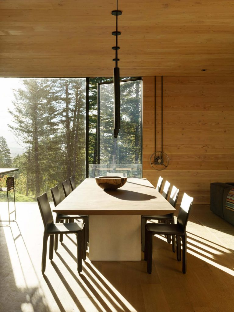 Architect Tom Kundig Olson Kundig Jackson Hole Teton House dining room winch shutters
