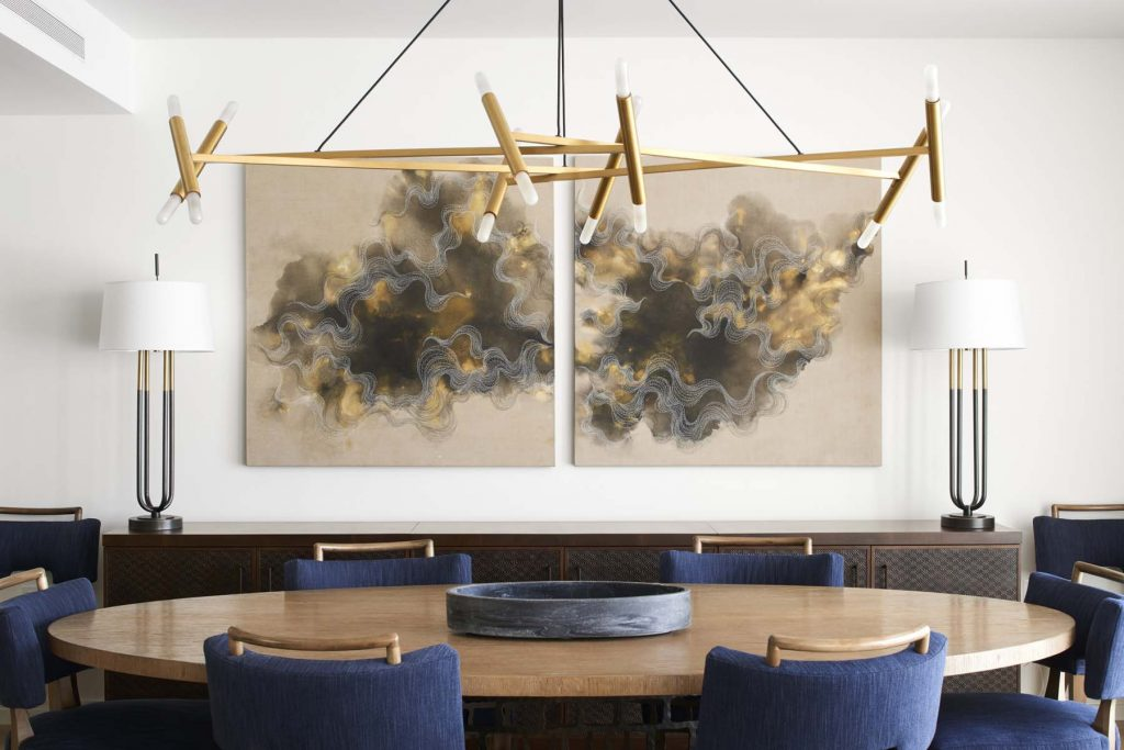 Ai Campbell paintings in dining room