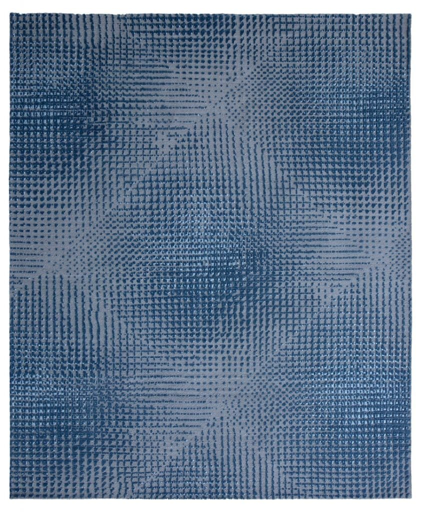 Hand-knotted, wool-silk Blurred Lines rug,by Jan Kath Designs