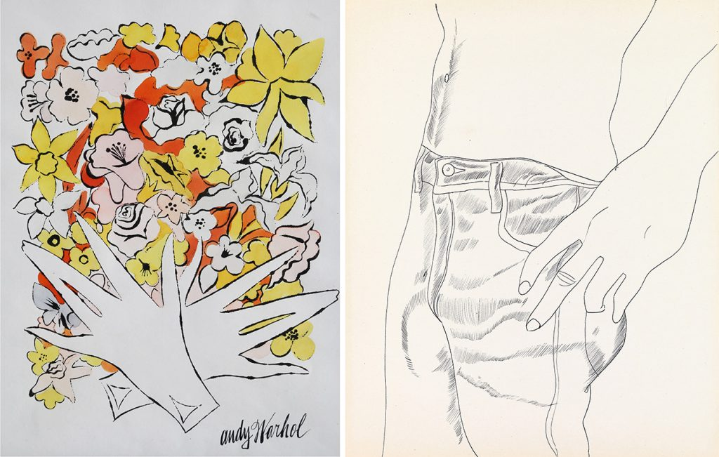 Andy Warhol's Flowers and Gloves, ca. 1955 and Untitled (Hand in Pocket), ca. 1956