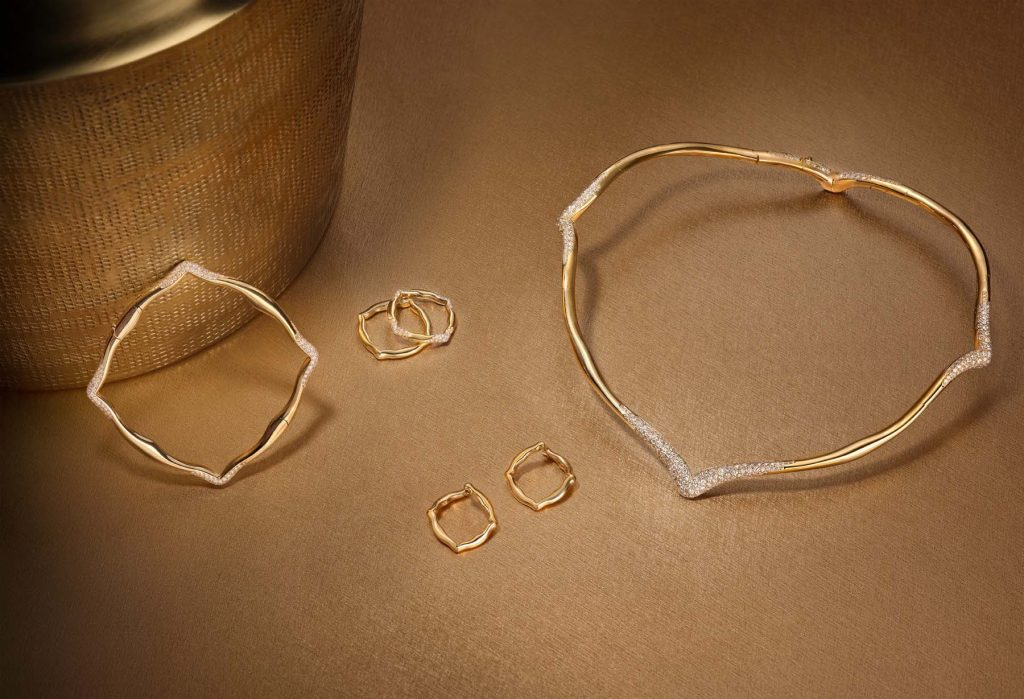 VanLeles Nile Collection, this bangle, rings, small hoop earrings and necklace were made crafted in 18-karat yellow gold and diamonds