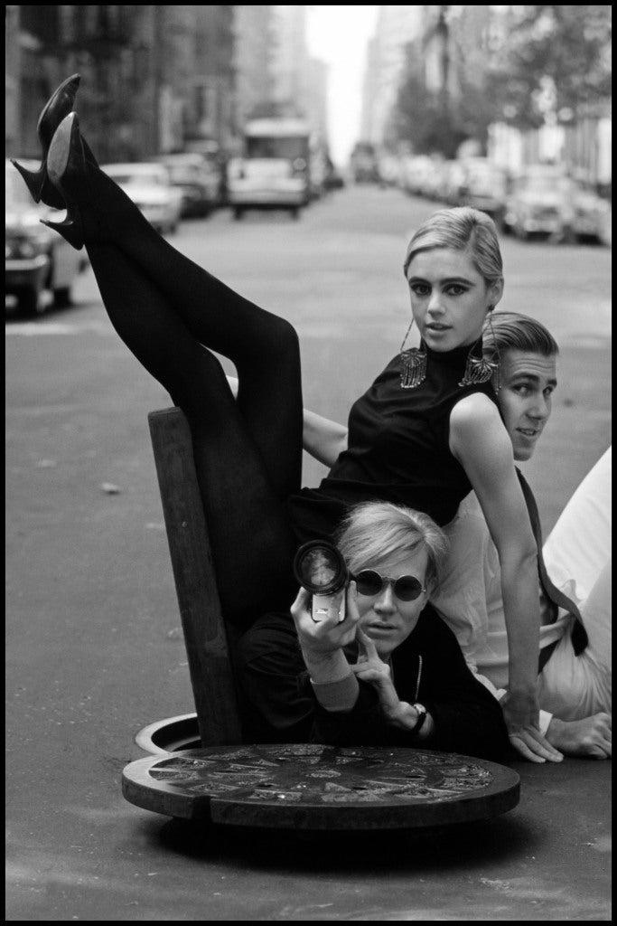 Andy Warhol with Edie Sedgwick and Chuck Wein, New York, 1965, by Burt Glinn