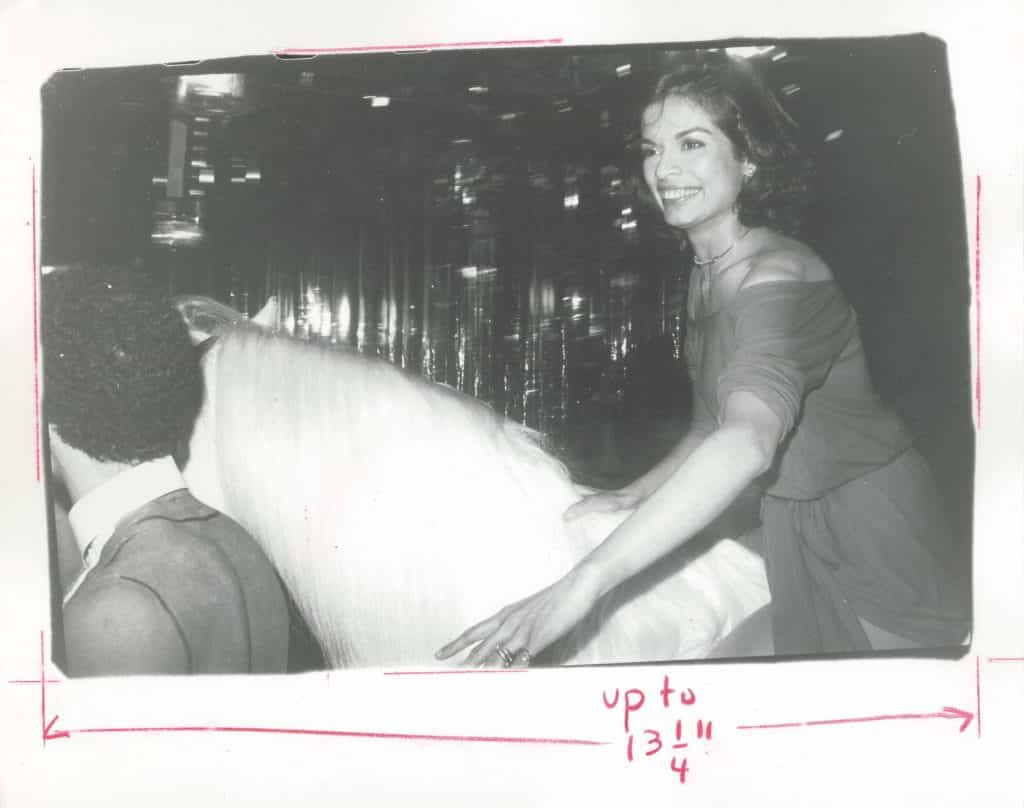 Warhol captured Bianca Jagger famously riding in on a white horse at her Studio 54 birthday party, 1977
