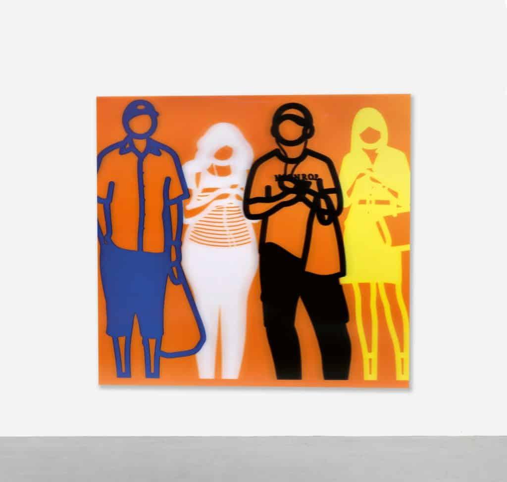 Standing People (Blue, White, Black, Yellow), 2019, by Julian Opie, presented by Vertu Fine Art
