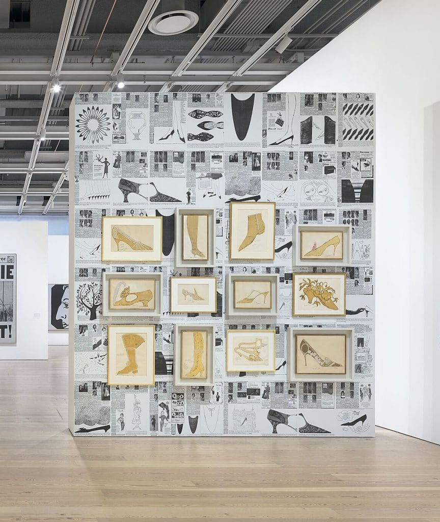 A wall of Warhol's shoe illustrations at Andy Warhol – From A to B and Back Again at the Whitney