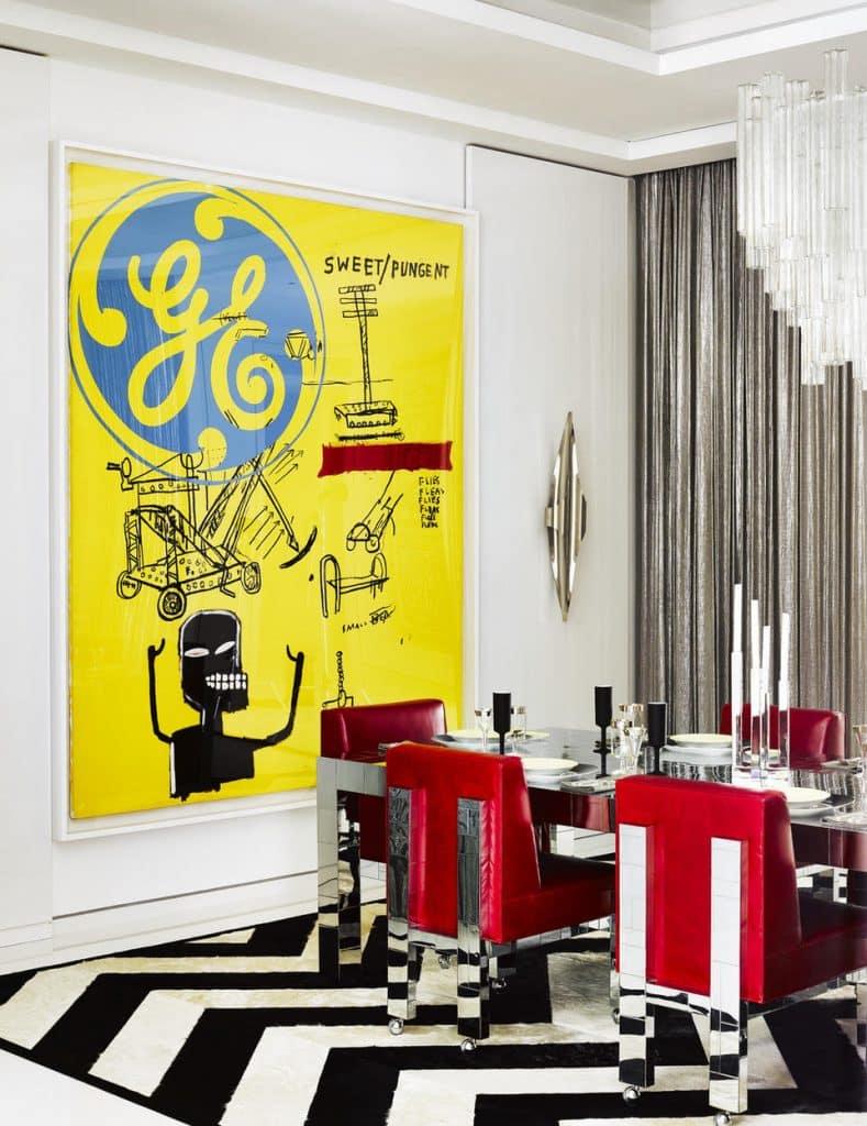 Andy Warhol/Jean-Michel Basquiat painting in dining room by Martyn Lawrence Bullard