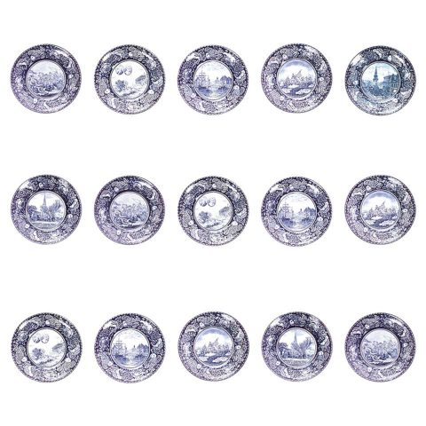 Set of 15 English blue-and-white porcelain dinner plates, 20th century, offered by Newel