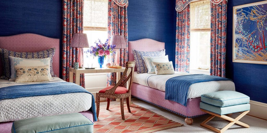 blue guest room by Katie Ridder