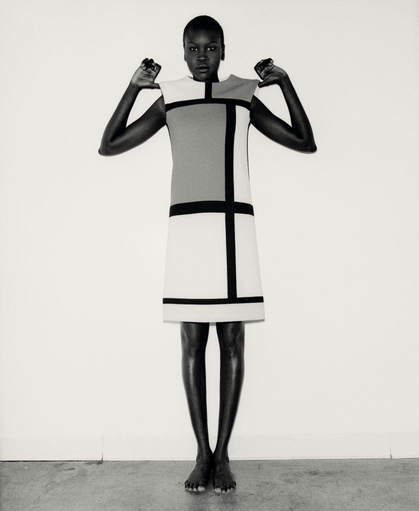 Model Alek Wek wears Saint Laurent's Mondrian dress from his Autumn 1965 haute couture collection.