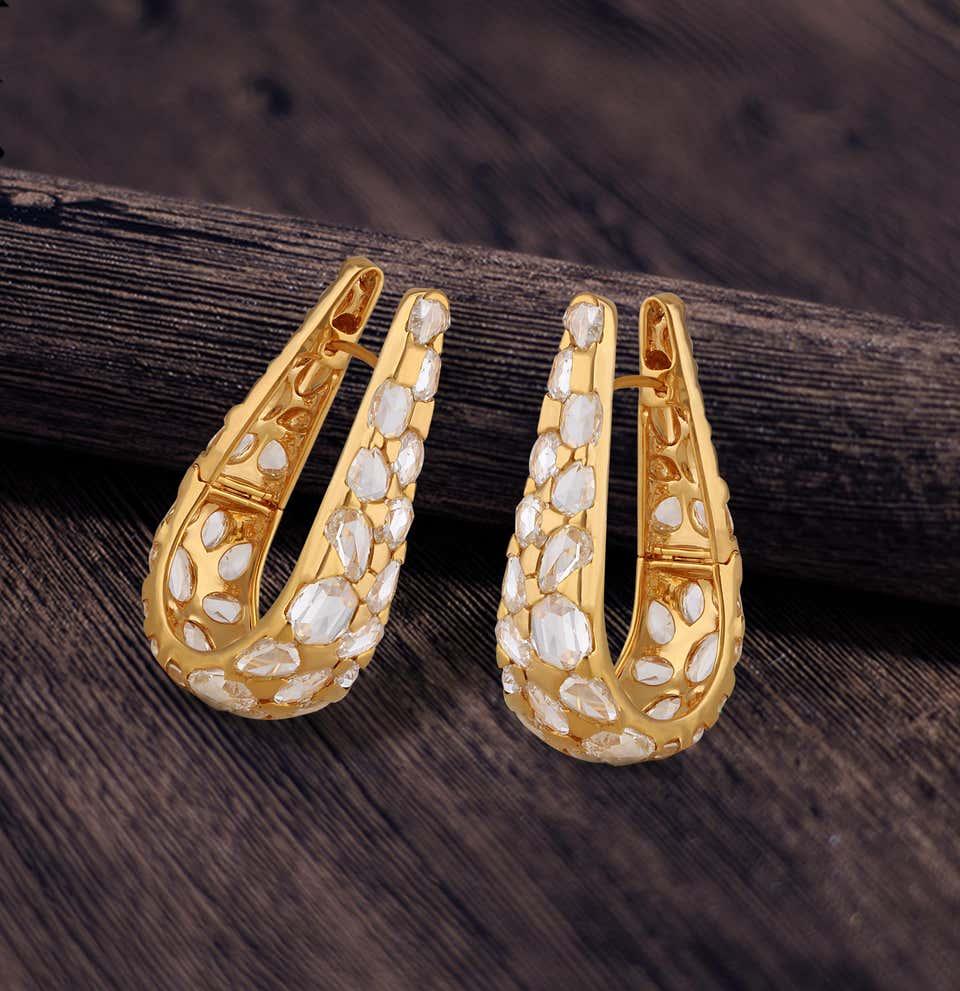 Studio Reves Rosecut Diamond Hoop Earrings in 18 Karat Yellow Gold