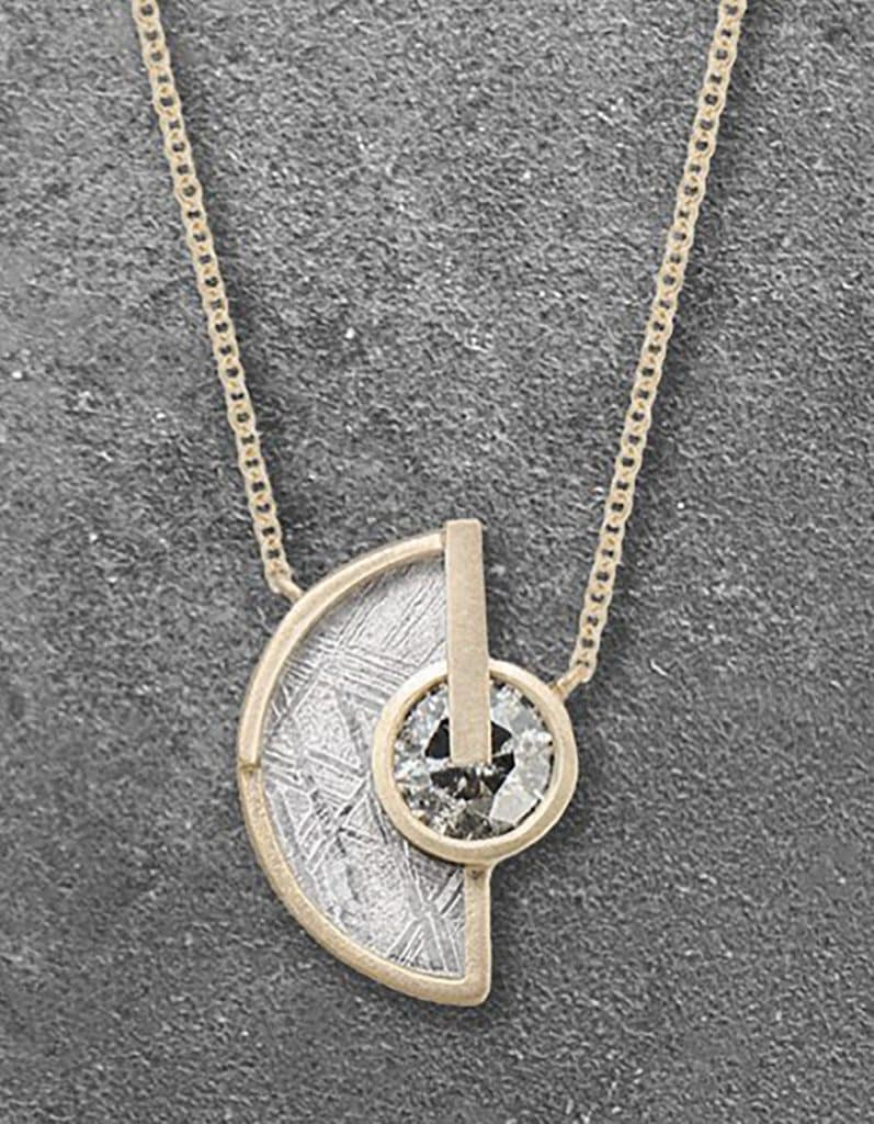 meteorite and gray diamond necklace in 18-karat recycled white gold