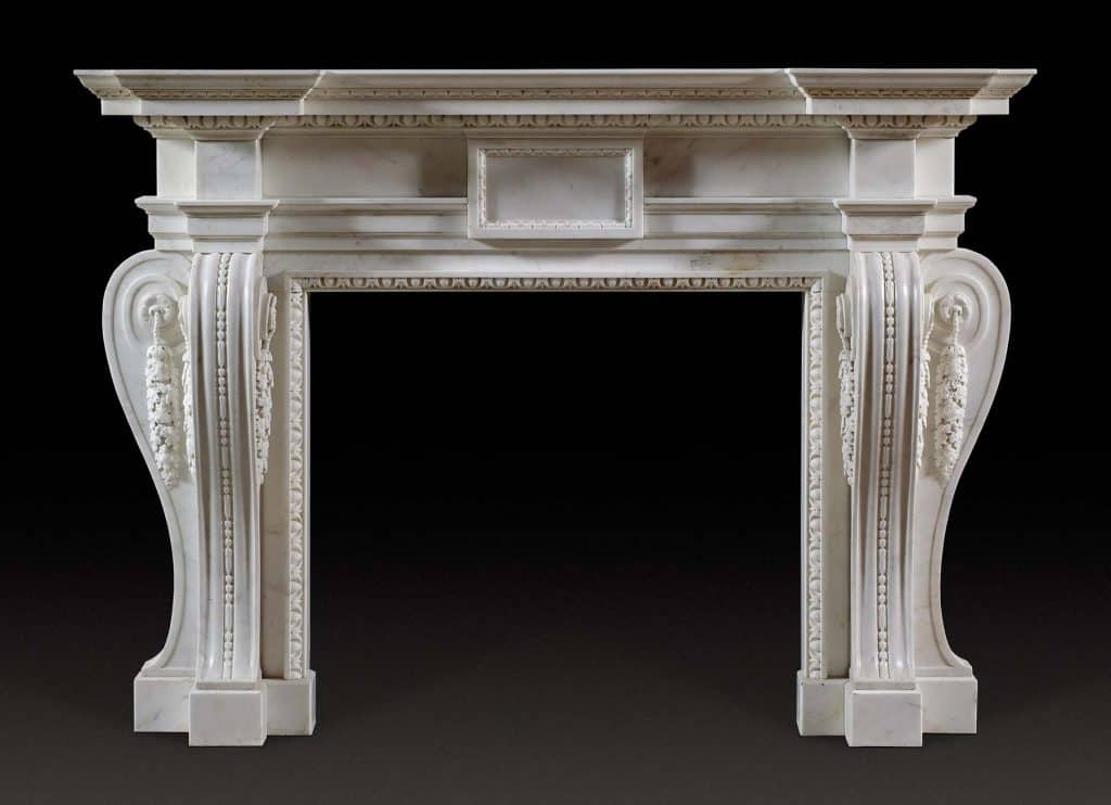George II Palladian fireplace mantel, 1740s
