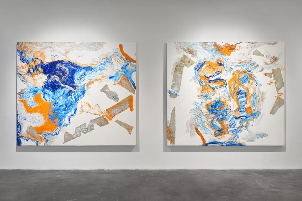 """Installation view of Oliver Lee Jackson's """"Take the House"""" exhibition at Malin Gallery"""