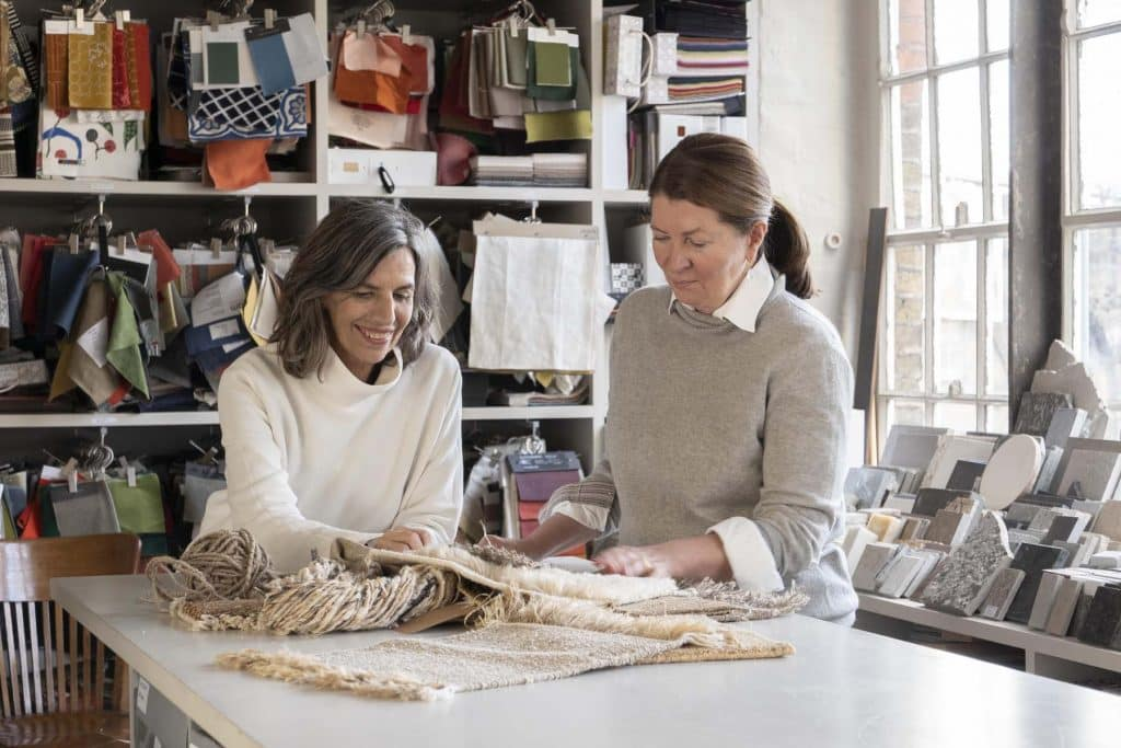 Nani Marquina (left) and Ilse Crawford working on the Wellness collection