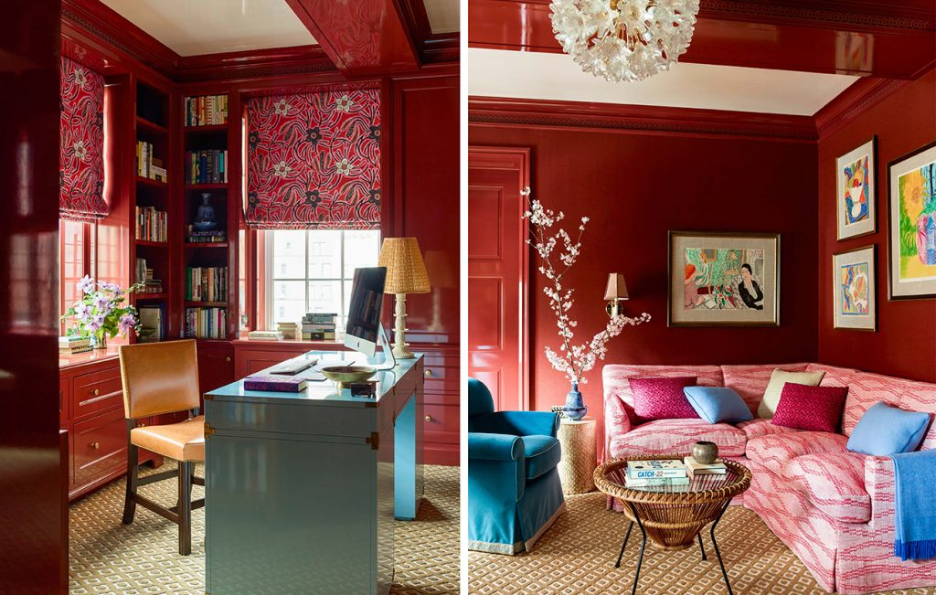 red-lacquered library by Katie Ridder