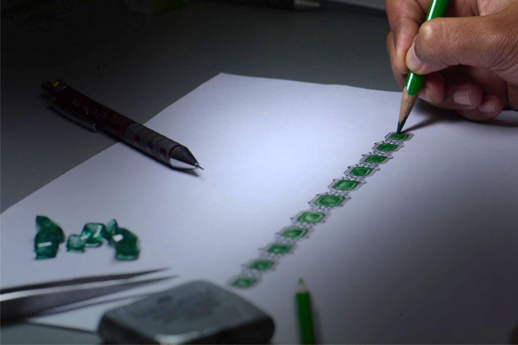 Studio Reves emerald bracelet sketch