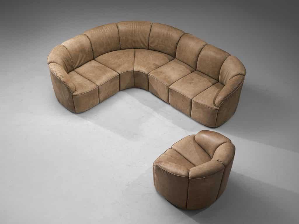 Walter Knoll Piccolino lounge set in original leather, 1960s