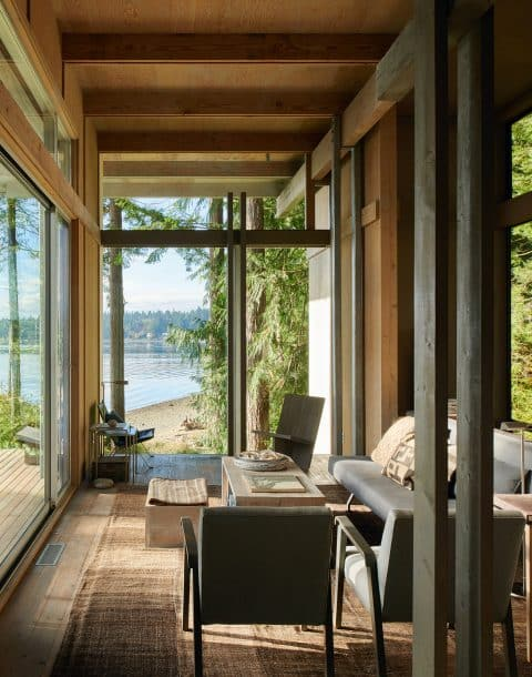 A room in architect Jim Olson's home outside Seattle, Washington
