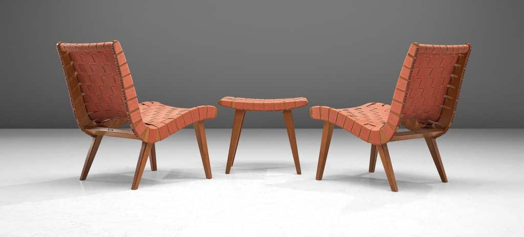 Jens Risom for Walter Knoll pair of  Vostra chairs with ottoman