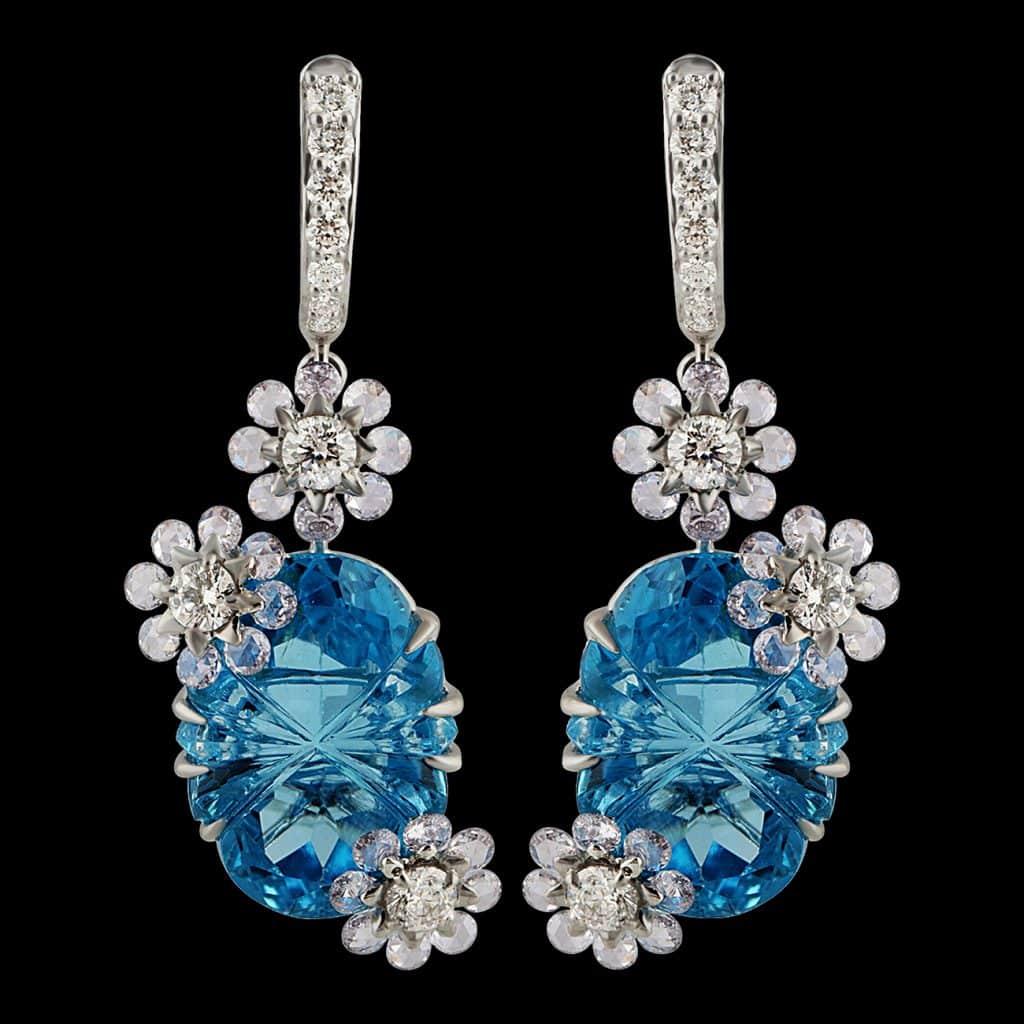 Studio Reves Diamond with Blue Topaz Floral Dangling Earrings in 18 Karat Gold