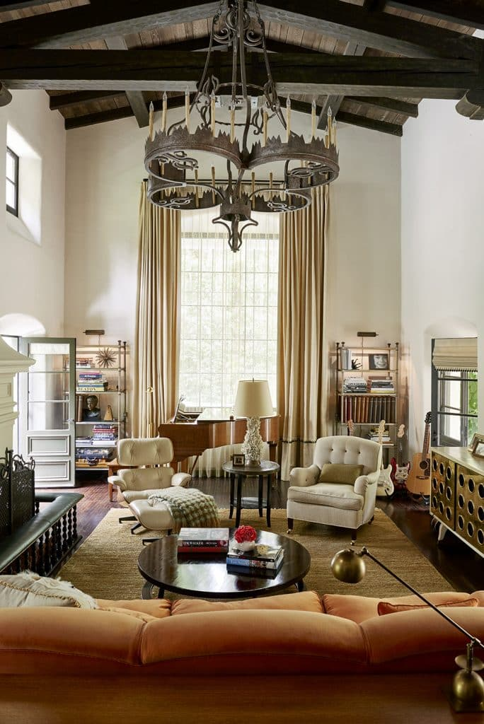 The great room of a Spanish-style residence in Wattles Park designed by Nickey Kehoe.