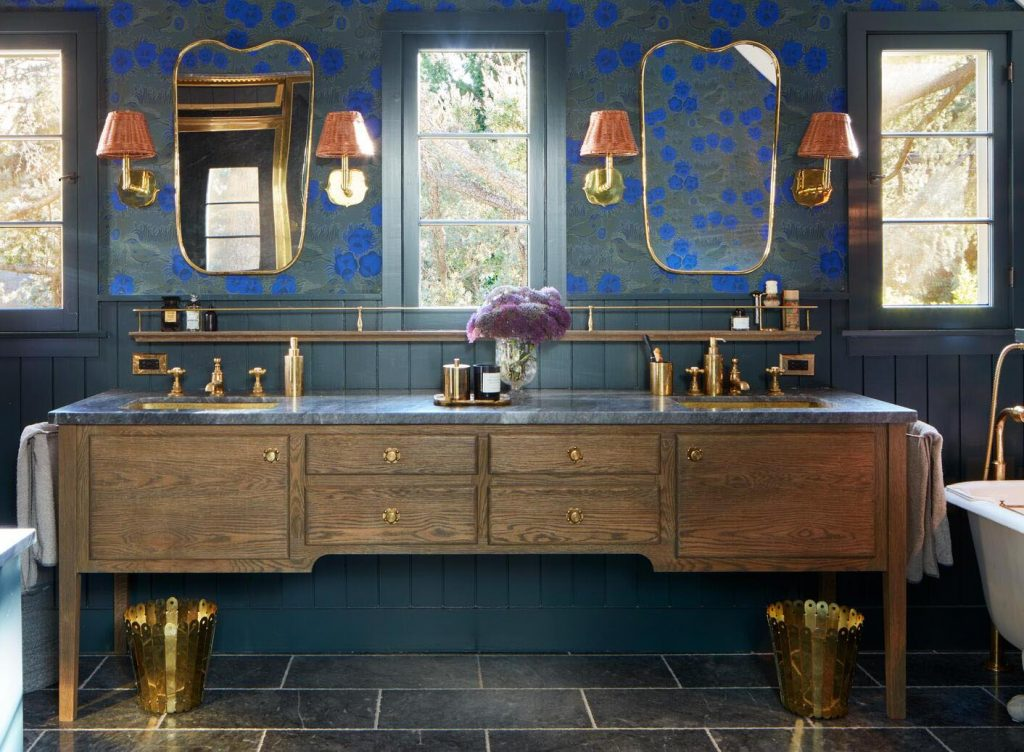 A master bathroom in the Santa Monica Mountains designed by Nickey Kehoe.