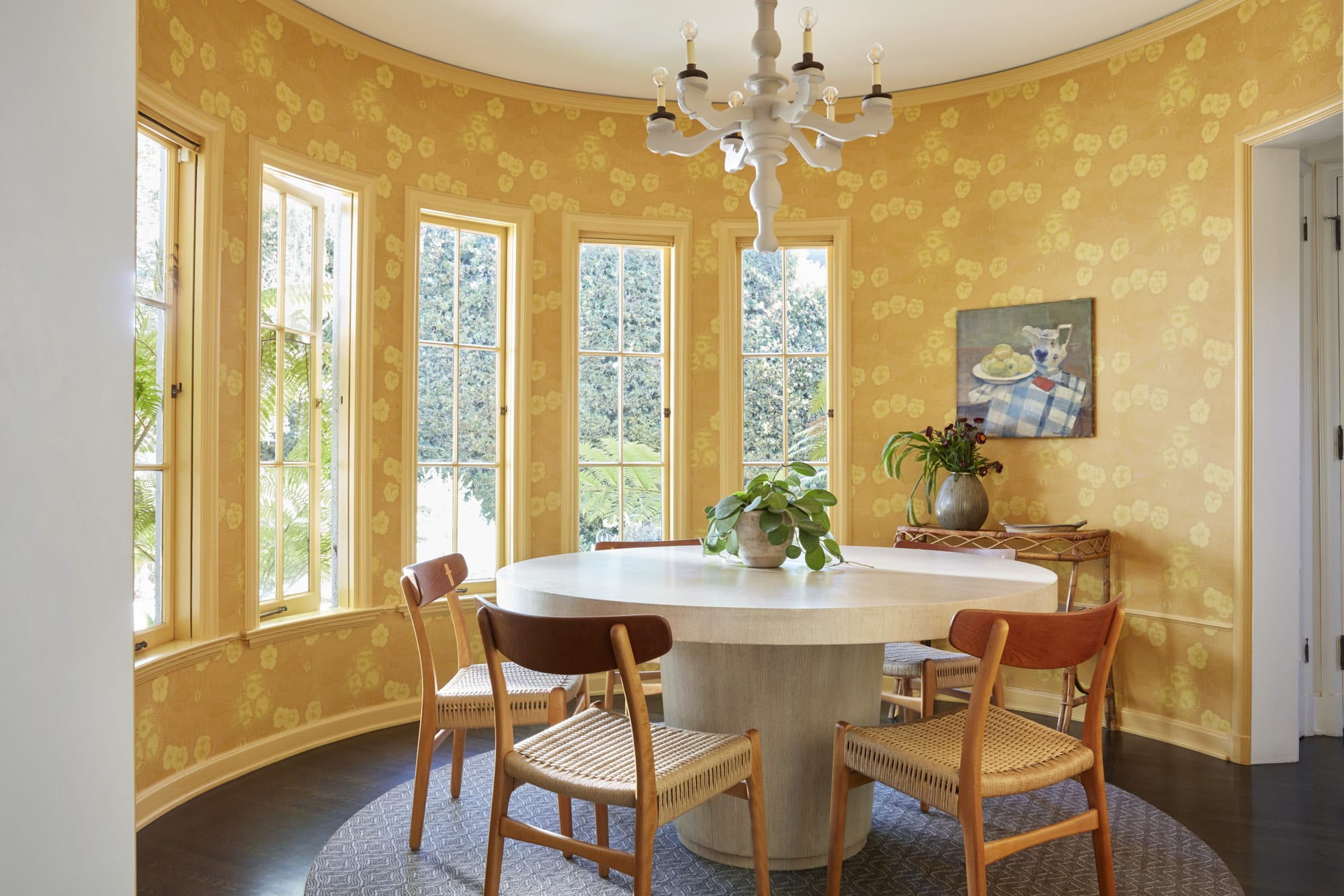 The family dining room of the Los Feliz home designed by Nickey Kehoe.