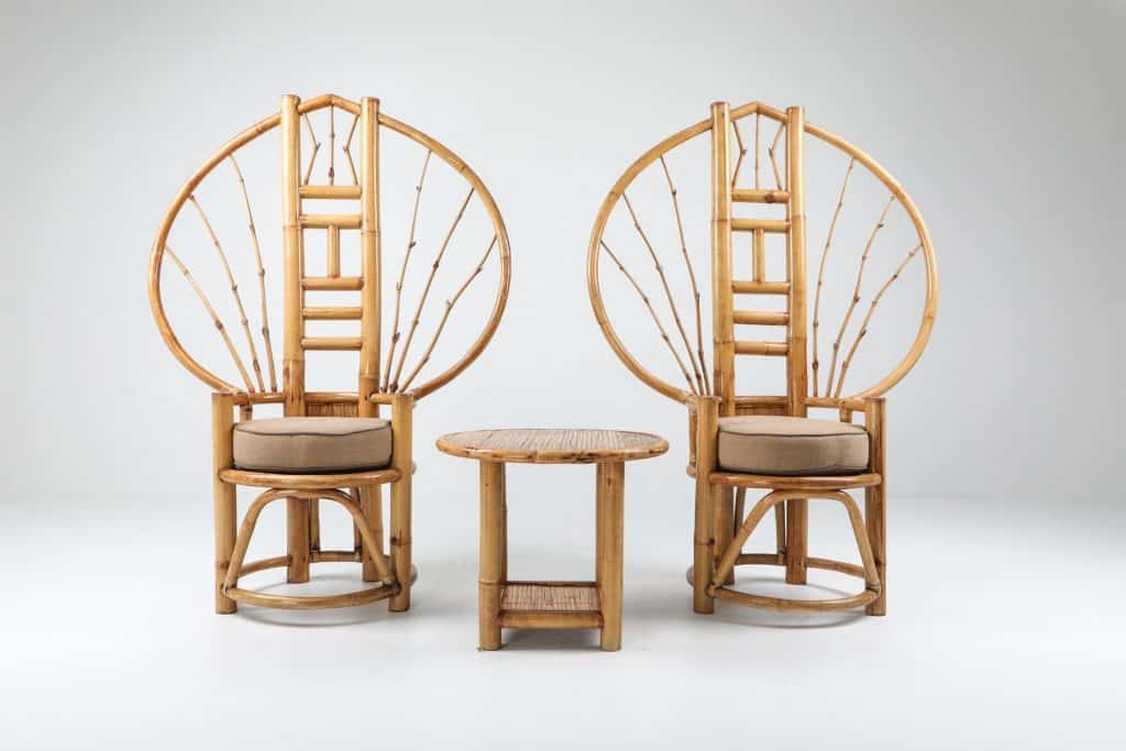 A pair of 1970s peacock chairs by Henry Olko from Goldwood Interiors