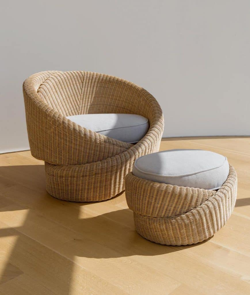 A Knotties armchair and ottoman by Nea Studio