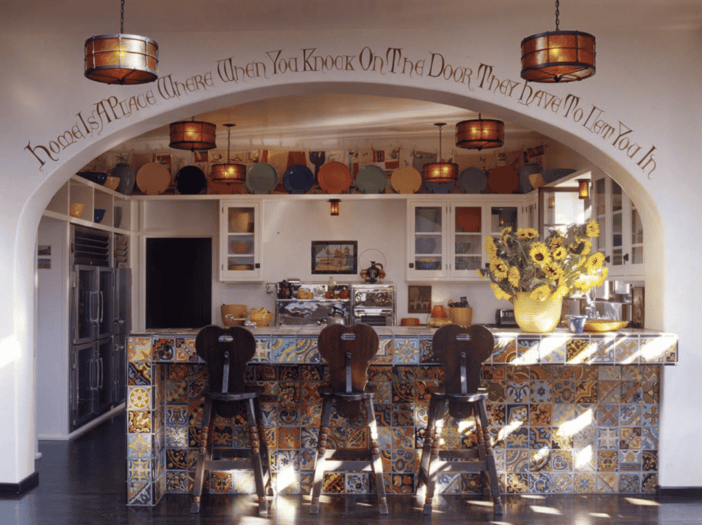 Colorful vintage tiles in Diane Keaton's Spanish Colonial Revival home in Bel Air, designed by Stephen Shadley