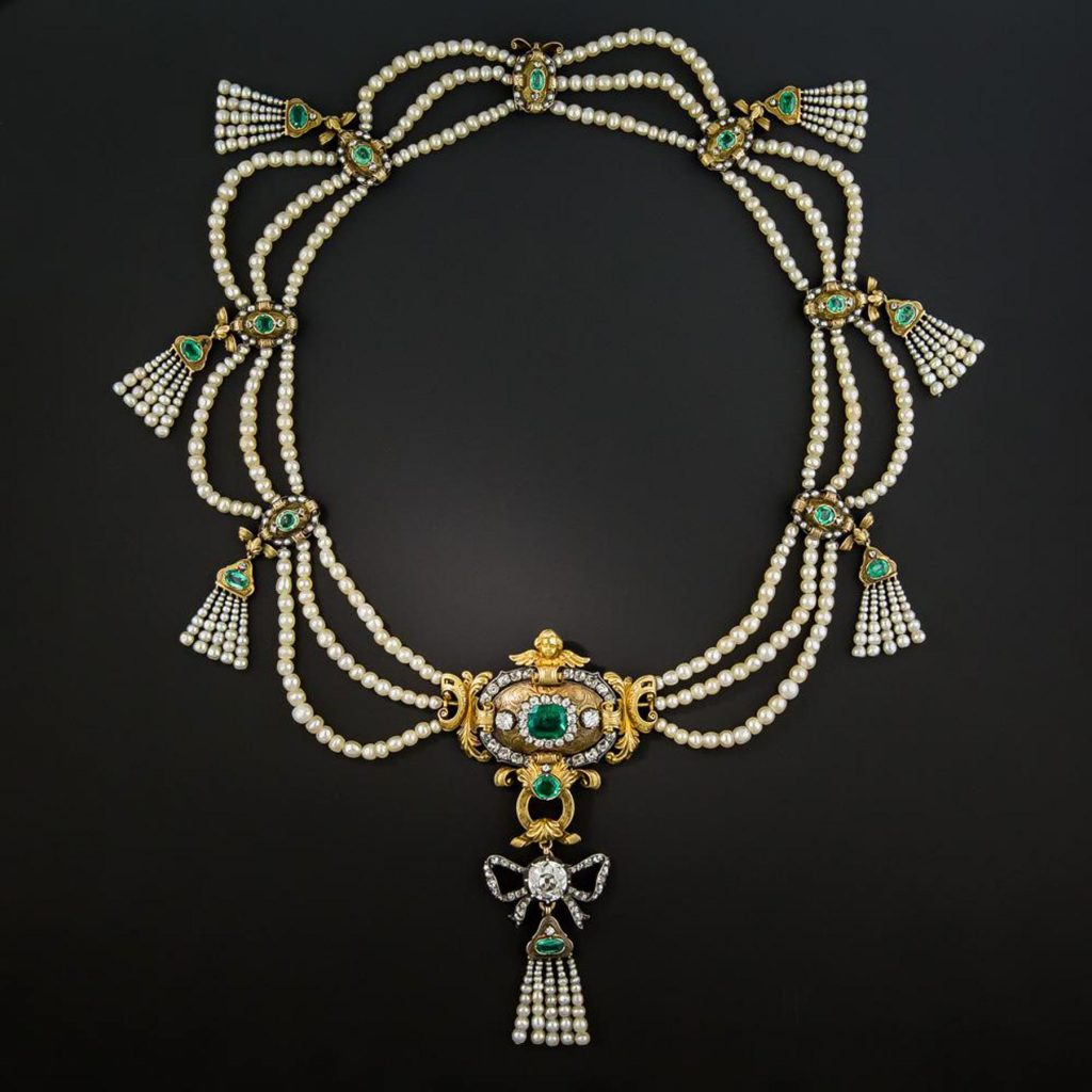 An emerald, diamond and pearl necklace thought to have been commissioned by King Ferdinand VII of Spain