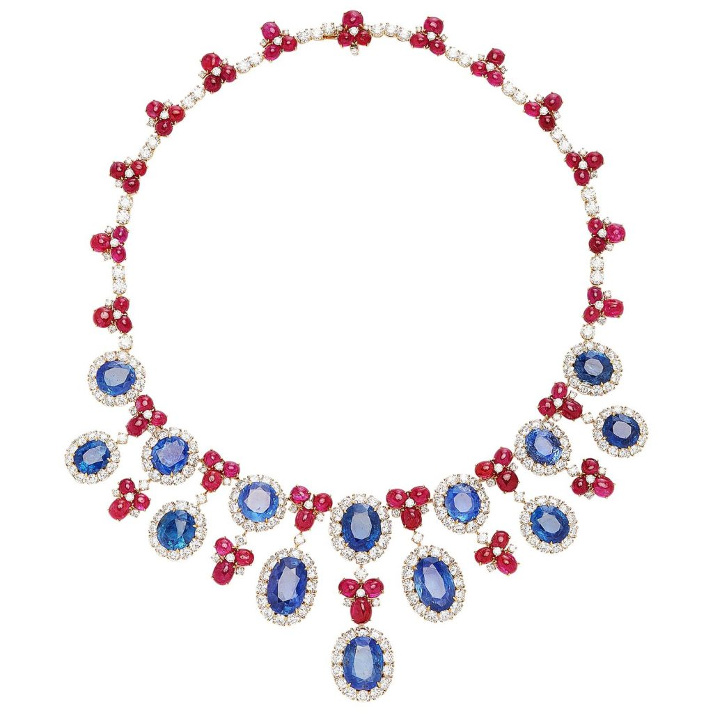Bulgari Sapphire Diamond Ruby Necklace
