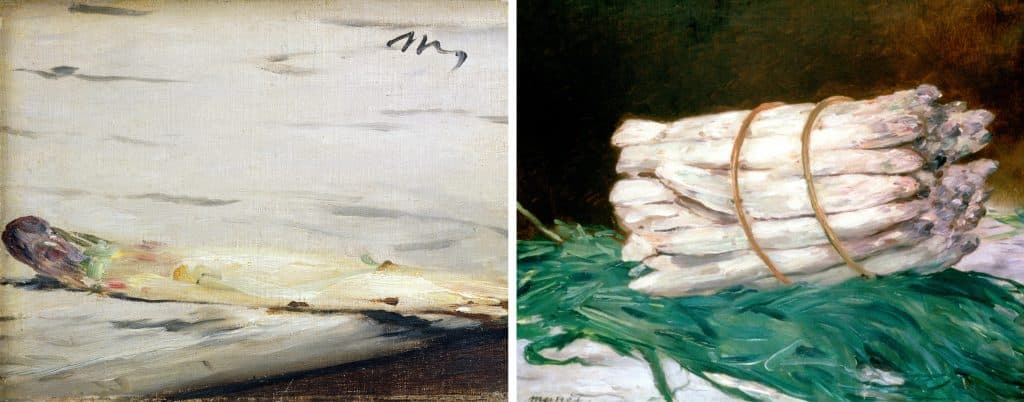 The paintings A Sprig of Asparagus, left, and A Bundle of Asparagus, right, by Edouard Manet