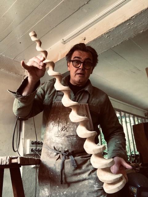 Artist and furniture designer Franck Evennou at work