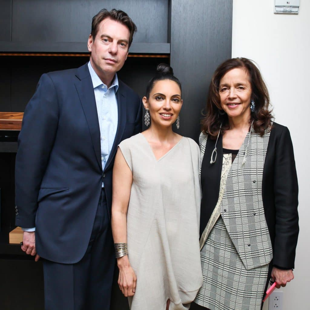 Gallerists David Maupin and Rachel Lehmann with Teresita Fernández (center), one of the artists they represent