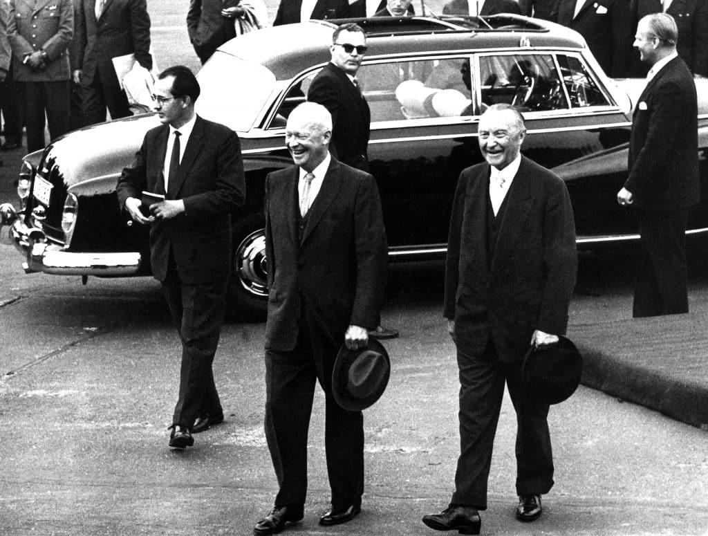 German Federal Chancellor Konrad Adenauer (R) receives US-President Dwight D. Eisenhower (M) at the airport Cologne-Wahn 08/26/1959