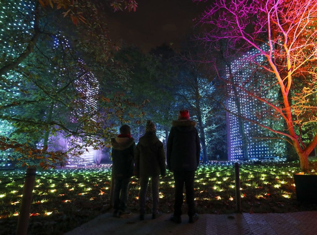 Children watching the Christmastime lights at Kew Gardens, in London.