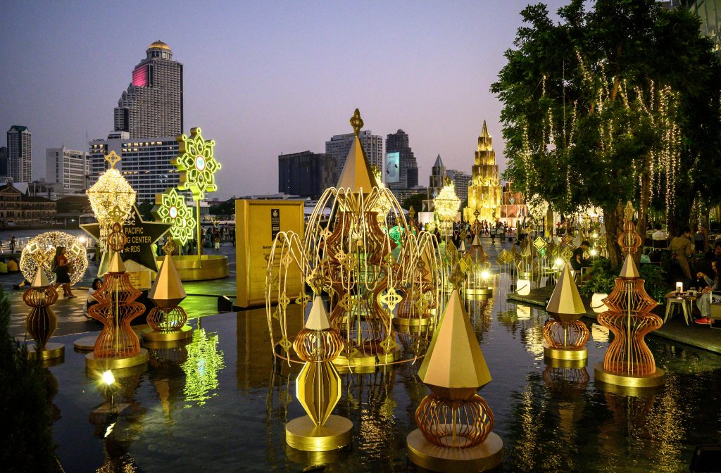 Holiday decorations at the Iconsiam shopping mall in Bangkok.