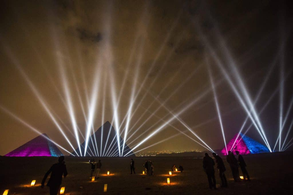 Egyptians celebrating the New Year in front of the pyramids, outside Cairo.