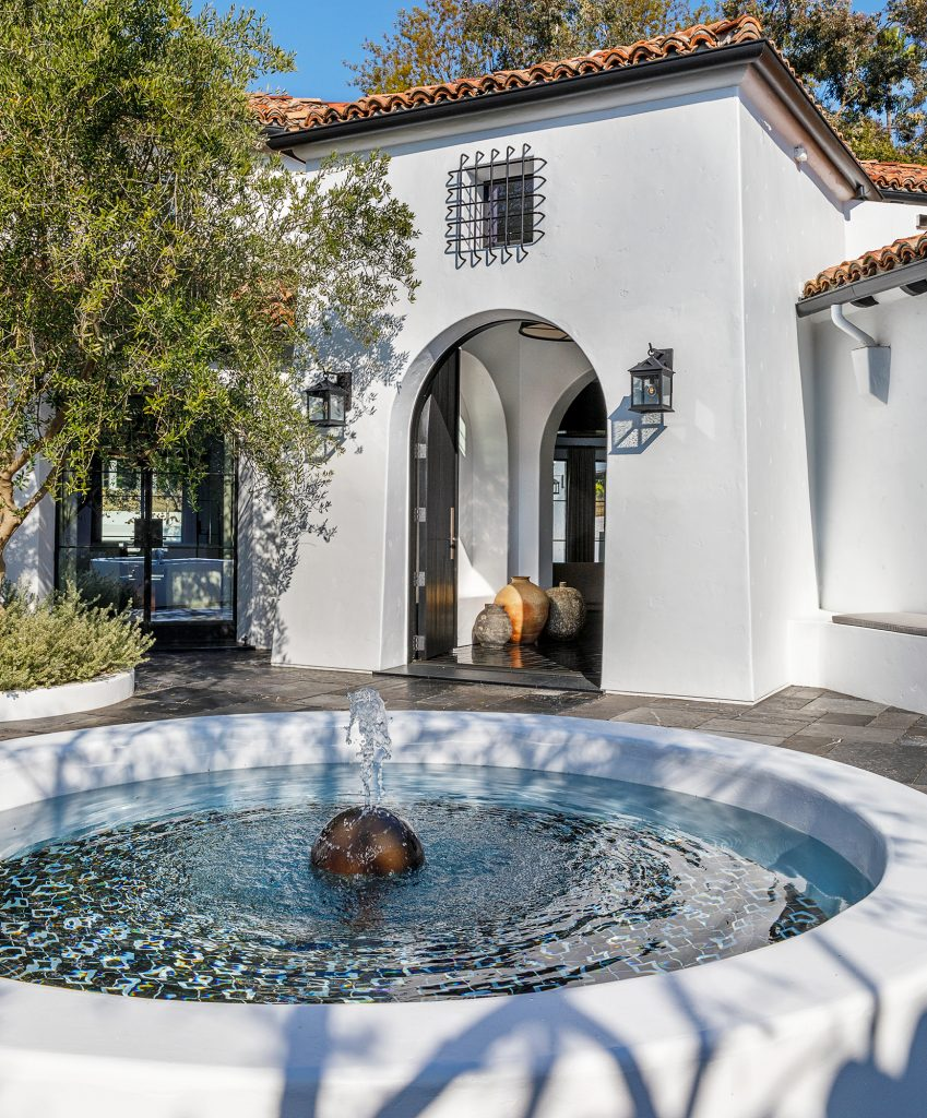 A fountain at producer Ryan Murphy's Spanish-style home in Pacific Palisades, designed by Stephen Shadley