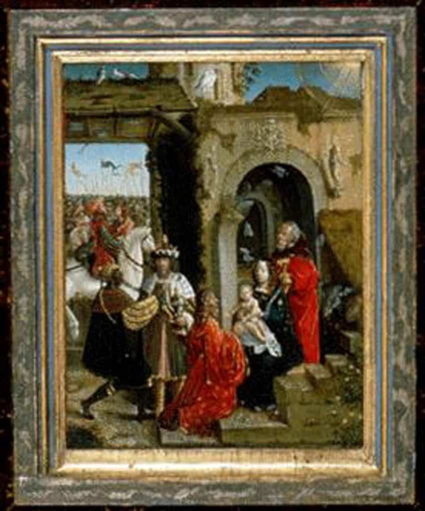 The painting Adoration of the Three Wise Kings, by a 16th-century German painter