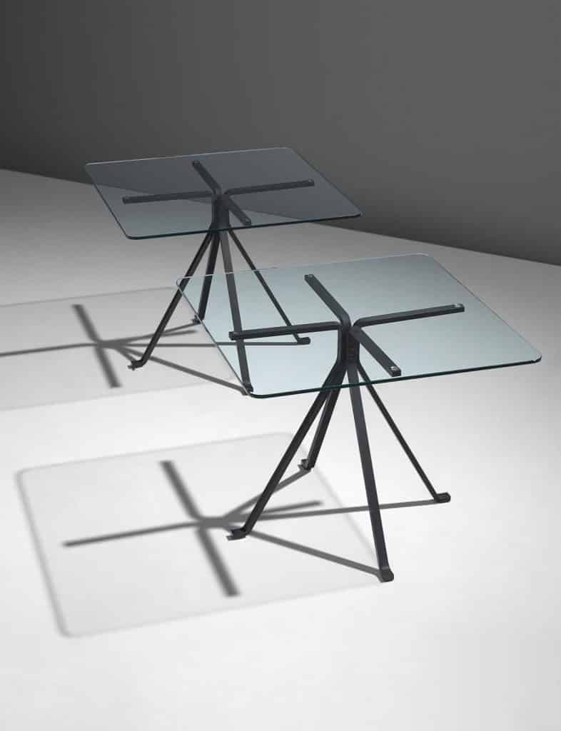 Enzo Mari's Cuginetto steel and glass side tables
