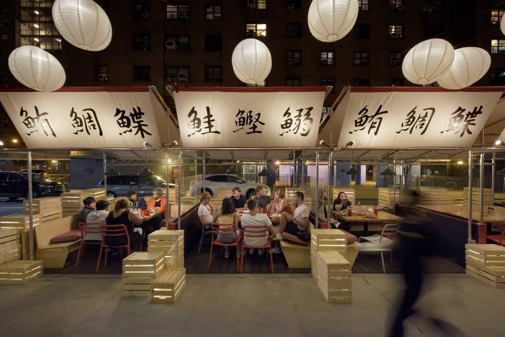 David Rockwell designed this outdoor dining space for Buddakan, in New York.