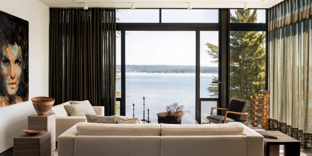 Seattle Interior Designer Charlie Hellstern lake house living room