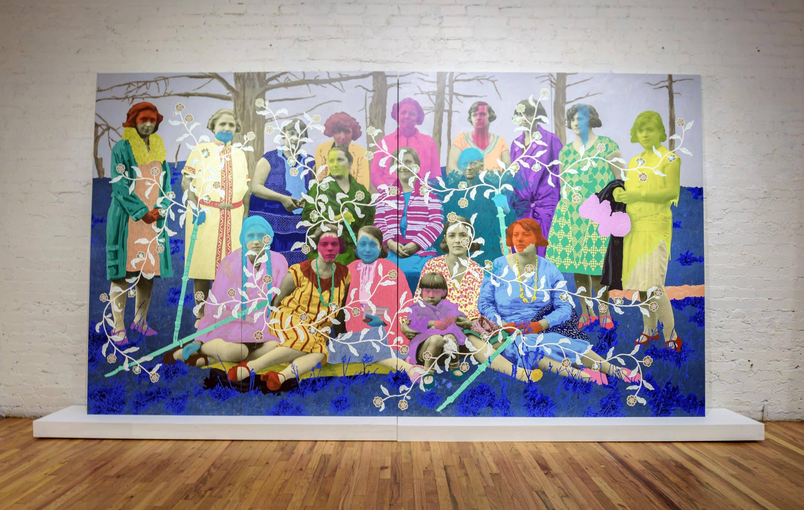 A monumental painting on blown-up photographs by Daisy Patton