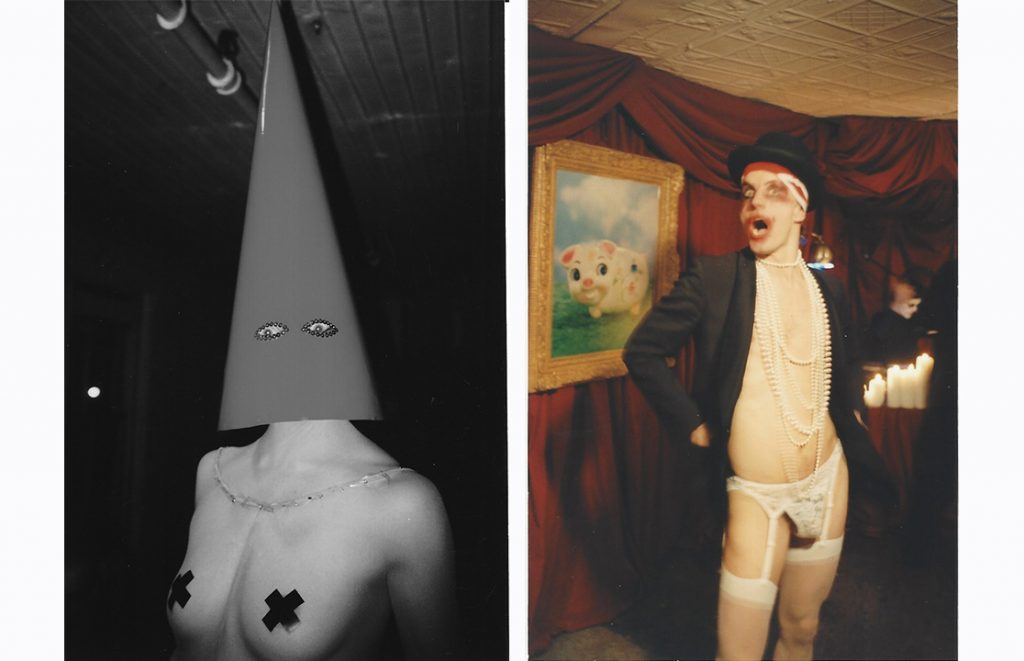 """Left: A performance artist with a tall, pointed hat at the exhibition """"Ways & Means Committee"""" at Ivy Brown Gallery. Right: Artist Mr. Means at the exhibition."""