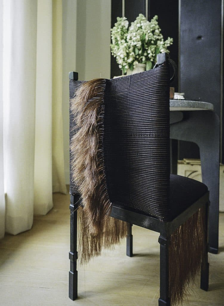 Prototype of a side chair made from horsehair, iron and linen