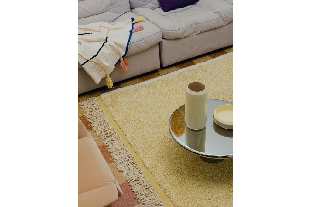 Julie Richoz carpet Noise line Trame Voyage to Meknes collection Into Each Other vase and bowl Maddalena Casadei